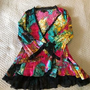 Crinkled poly wrapped blouse